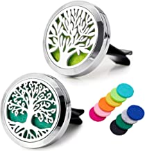 JOJOY LUX 2pcs 30mm Air Fresheners, Aromatherapy Essential Oil Diffuser, Stainless Steel Locket with Magnetic Cover & Vent Clip+10 Felt Pads, for Car Fan Computer and Others to Clip on