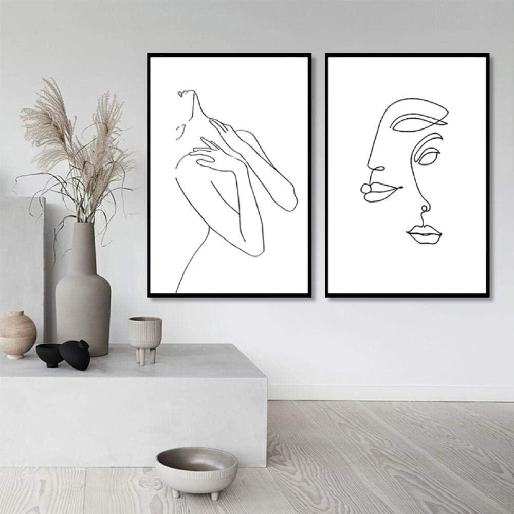 YQLKC Abstrakte Leinwand Malerei Frauen Strichzeichnung Bild Schwarz-Wei/ß-Figur K/örper Nordic Minimalist Print Home Decoration x2 Rahmenlos 20x35cm