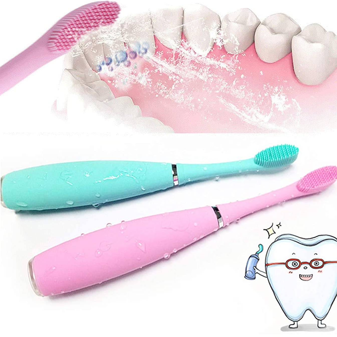 非常に怒っていますフラスコ比類のないXMONY超音波 電動歯ブラシ シリコーン IPX7級防水 充電式 口腔洗浄器 音波振動歯ブラシ 5段階調節可 替えブラシ付き (グリーン)
