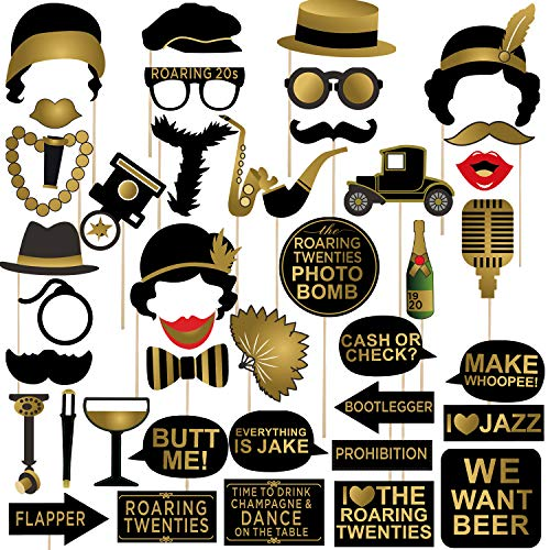 Roaring 1920's Party Photo Booth Props 42pcs, Twenties Jazz 1920s Photo Booth Props Kit, 20's Party Supplies for Gatsby Vintage Jazz Party