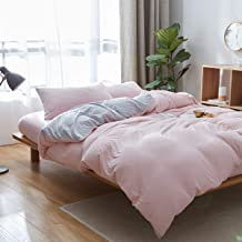 Uozzi Bedding 100% Knitted Cotton Solid Pink Queen Duvet Cover Set (1 Jersey Knit Cotton Duvet Cover + 2 Pillow Shams) Ultra Soft Comfy Breathable Natural Material 1200 TC with 4 Corner Ties