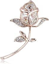 Grtdrm Created Rhinestone Crystal Brooch, Classy Rose Flower Fashion Pin Gift for Women Girls