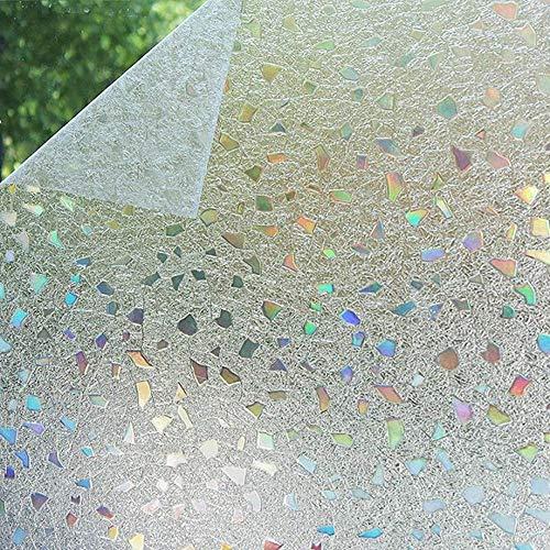 Shackcom 3D Fensterfolie Selbsthaftend Blickdicht Sichtschutz Sichtschutzfolie 45x200 cm Statisch Haftend Anti-UV Dekorfolie für Bad Küche Büro Zuhause-Farbeffekt unter Licht S170