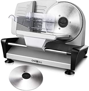 Meat Slicer Electric Deli Food Slicer with 2 Interchangeable Blades, Oneisall Removable 7.5'' Stainless Steel Blade & Food Carriage, Precisely Cuts Meat with Adjustable Thickness, Non-Slip Feet (150W)