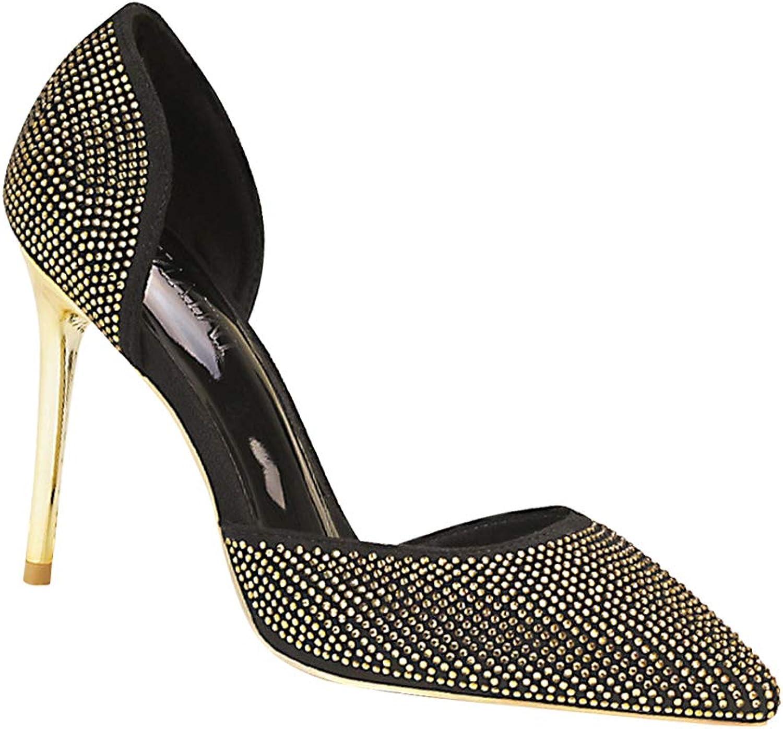 Uirend Womens Court shoes - Ladies Pointed Toe Stiletto Diamond Rhinestone High Heel Fashion Pumps Evening Wedding Bridal Bridesmaid Party