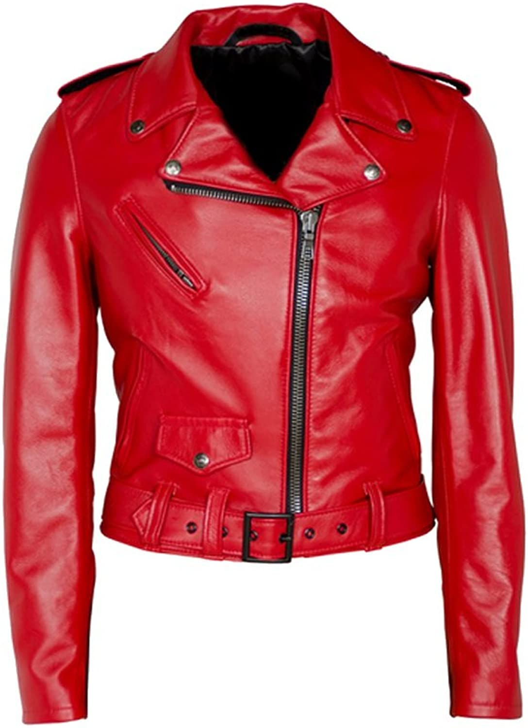 Classyak Women's Terminator Style Red Real Leather Jacket