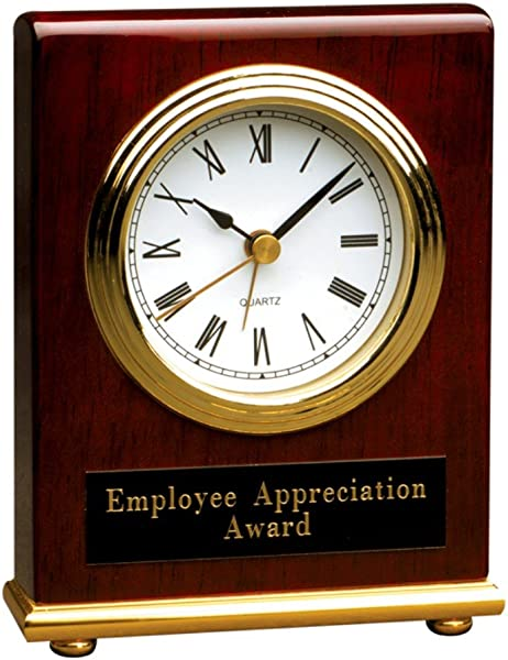 Personalized 4 X 5 Rosewood Piano Finish Rectangle Desk Clock BRAND NEW