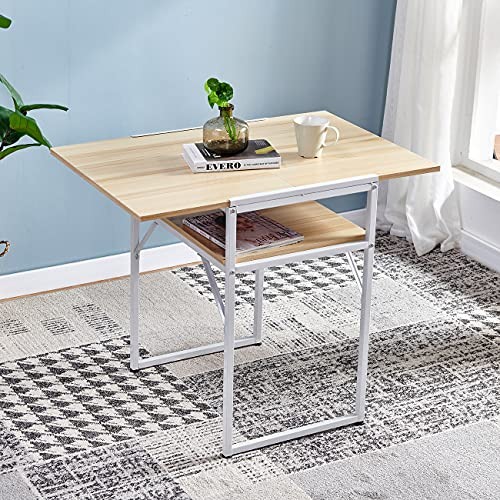 Huisen Furniture Foldable Drop Leaf Dining Kitchen Table Extendable for Small Space Apartment Dinette Folding Computer Desk Workstation Wood Tabletop with Metal Frame