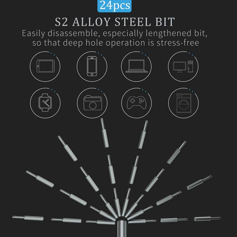 Watches and Other Appliances /… with Premium Quality Aluminum Case 24 in 1 Small Magnetic Screwdriver Bit Repair Tool Kit for iPhone Electronic Toys Laptop 24 IN 1 Cameras SOONAN Mini Precision Screwdriver Set iPad Smartphone PC Eyeglasses