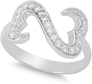 Prime Jewelry Collection Sterling Silver Women's Colorless Cubic Zirconia Infinity Pave Open Heart Ring (Sizes 5-10)