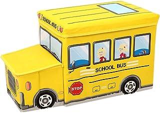 収納ボックス 収納 スツール おもちゃ箱 座れる 折りたたみ ボックス 子供用 乗り物 箱 (汽車) チェア 児童 可愛い 子供 大容量 フタ付き 収納ボックス 衣装ケース ふた付き 丈夫 頑丈 大型 キャリー (イエロー)