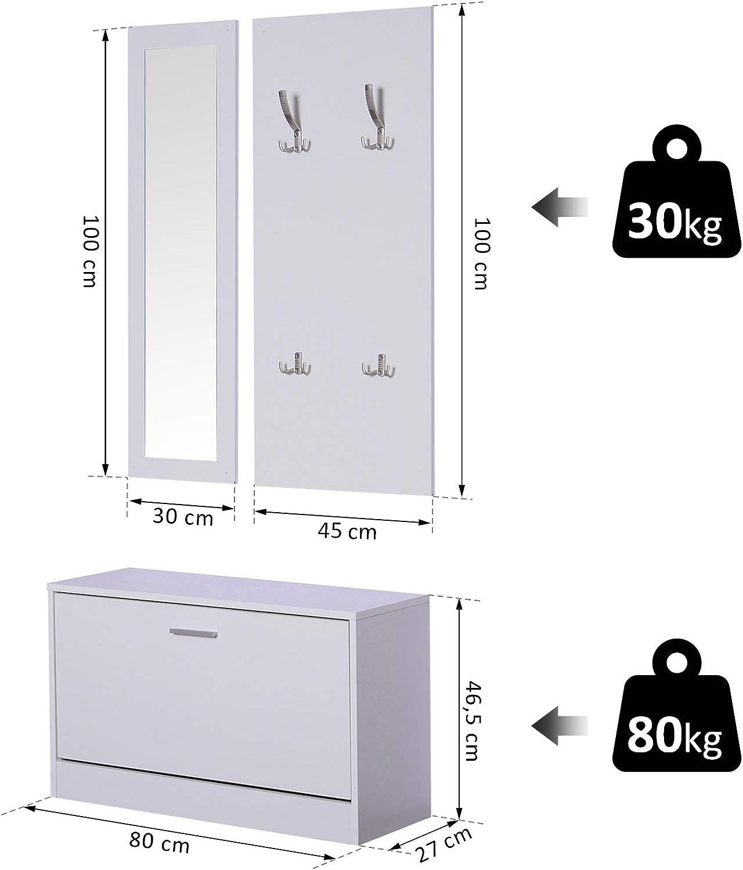 Spiegel HOMCOM 3-teiliges Garderoben-Set Flurgaderobe mit Schuhschrank Garderobe Wandspiegel 4 Haken Wei/ß 30 x 100 cm