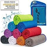Cooling Towel für Sport & Fitness, Mikrofaser Handtuch/Kühltuch als kühlendes Handtuch für Laufen, Trekking, Reise & Yoga, Airflip Cooling Towel, Farbe: blau-roter Rand, Größe: 100x30cm