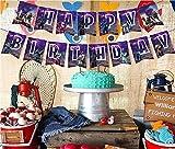 27 pcs Pañuelos de Fiesta de cumpleaños y Cupcake Toppers, 15 Banners & 12 pcs de Baile Floss Cupcake Toppers, Juegos temáticos artículos para Fiestas de cumpleaños decoración de Pasteles