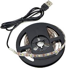 Renohef USB llevó luces de tira,3528 5 metros 300 Leds blanco frío tiras LED con cable USB,TV Sobremesa para computadora portátil de escritorio,Iluminación del hogar,Luces de fiesta-No impermeable