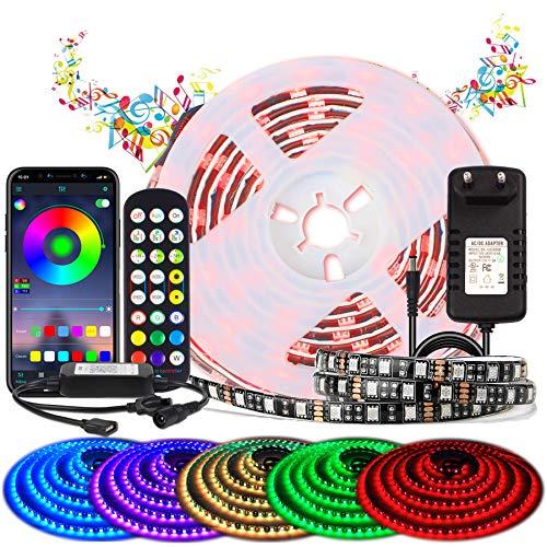 BIHRTC RGB LED Strip 2m LED Streifen Sync mit Musik Wasserdichte LED Band mit APP-Steuerung und Fernbedienung 24 Tasten, 120 LEDs Flexibler LED Lesite für Deko Party