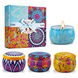 Yinuo Candle Scented Candles Gifts Set for Women, Portable Tin Candles for Bath Yoga Thanksgiving Gifts Set for Christmas Mother's Day Birthday Valentine's Day