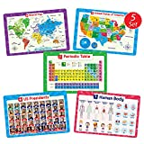 Simply Magic 5 Placemats for Kids - Kids Placemats Non Slip, Washable Reusable Children Placemats, Educational Placemats: USA and World Maps, Periodic Table, US Presidents, Plastic Placemats for Kids
