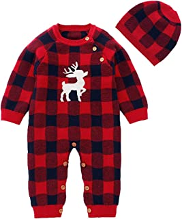 SANMIO Newborn Baby Boys Girls Christmas Outfits Clothes, Classic Red Plaid Cotton Knitted Sweater with Warm Hat Set
