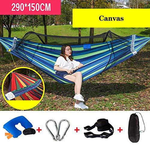 Unknow Hamac de Camping Double Simple avec Filet, Sangles d'arbre lit pivotant en Toile de Parachute Support léger 650 LB en Plein air