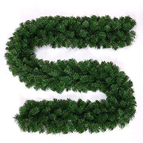 BulzEU kunstmatig groen dennen kerst krans lampen decoratie met bloem verlicht voor trappen open haarden hek Xmas feestelijke kransen kransen slingers - 2.7M