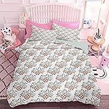 Hiiiman Juego de ropa de cama de 3 piezas retro ornamental, ramo de flores, diseño de hojas romantices, 3 piezas, tamaño king