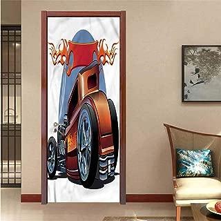 Homesonne Cars,3D Door Wallpaper Cartooon Hot Rod Classic Removable Vinyl W17.1xH78.7