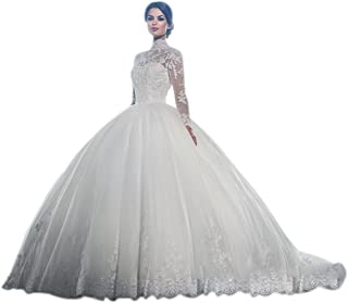 JJ-GOGO White High Neck Long Sleeves Wedding Dress Lace Ball Gown Bride  Gowns b0d8eb66d1eb