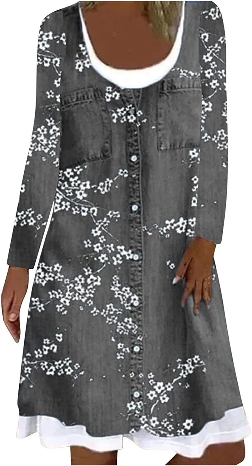 Women's Long Sleeve Denim Mini Dress with Pocket Floral Printed Button Loose Crew Neck Layered Jean Tunic Dress