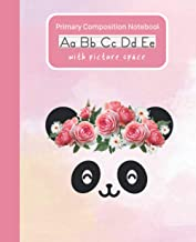 Primary Composition Notebook Boho Flowers Panda: Handwriting Practice Paper Dashed Midline Draw and Write Story Box Pictur...
