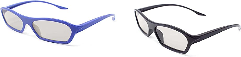 2 Pairs of Adults Passive 3D Glasses 1 Black 1 Purple in Phillips Easy 3D Style for All Passive TVs Cinema and Projectors Such as RealD Toshiba LG Panasonic and More