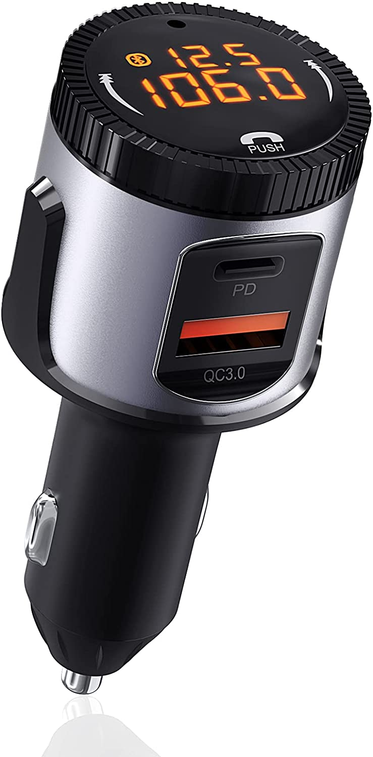 Bluetooth FM Transmitter for Car,EAUTOR V5.0 Bluetooth Car Adapter Music Player,Radio FM Transmitter Bluetooth for Car Fast Charger with PD/QC3.0 USB-C,Hands-Free Call Kit & Siri Google Assistant