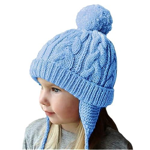 cbb1da40d1943 Amandir Kids Winter Hats Fleece Lined Knit Toddler Girls Beanie Baby  Confetti Warm Pom Pom Cap