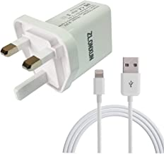 UK Charger Adapter with Cable for iPhone 8 Plus 8 7 Plus 7 6 6S Plus, iPad air/Mini/Pro/6/5/4
