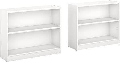 Bush Furniture Universal 2 Shelf Bookcase Set of 2 in Pure White