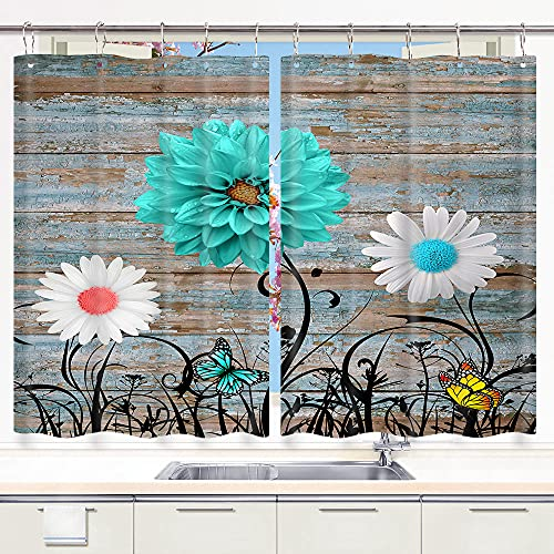 """Rustic Teal Daisy Butterfly Kitchen Curtain for Window, Barn Door Country Farmhouse Window Drapes for Kitchen Cafe Decor, Vintage Floral Brown Wooden Kitchen Window Curtain and Valances Set, 55"""" X 39"""""""