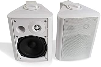 Herdio 5.25 Inches 200 Watts Indoor Outdoor Patio Bluetooth Speakers with Superior Dome Tweeter All Weather Wired Wall Mount System(White)