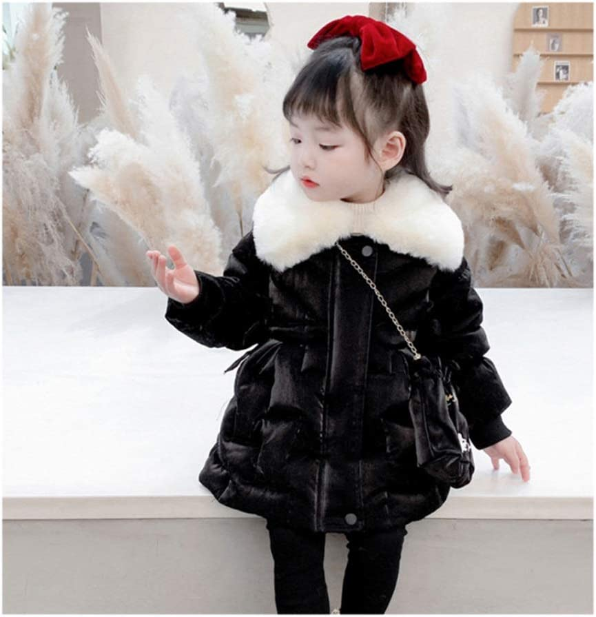 Down Jacket Girls Down Jacket Coats Kids Winter Warm Hooded Down Jacket Packable Lightweight Puffer Jacket Mid-Length Down Down Jacket Gift (Color : Black, Size : 100)