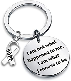 Zuo Bao Cancer Awareness Gifts Hope Awareness Ribbon Key Chain I Am Not What Happened to Me I Am What I Choose to Be Recov...