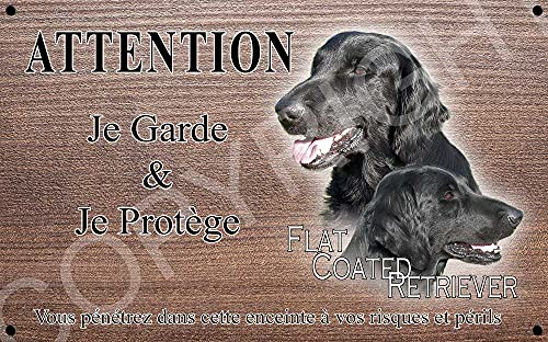 Pets-Easy.com Attention Chien de Garde personnalisée Flat-Coated Retriever - pré percée et vis comprises. De 30 cm à 15 cm…