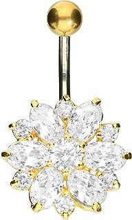 PIERCINGLINE - Piercing per ombelico in titanio | fiore argento 925 | Piercing a banana | colori assortiti