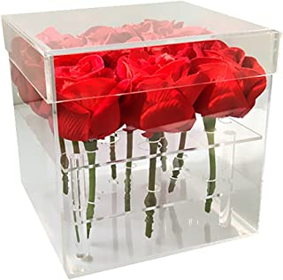 Mordoa Acrylic Flower Box Pot Wedding Flower Holder Multifunction Rose Water Holder Eyeliner Organizer 25 Hole 2 Tiers Storage Box (9 Holes: 161615.5cm)
