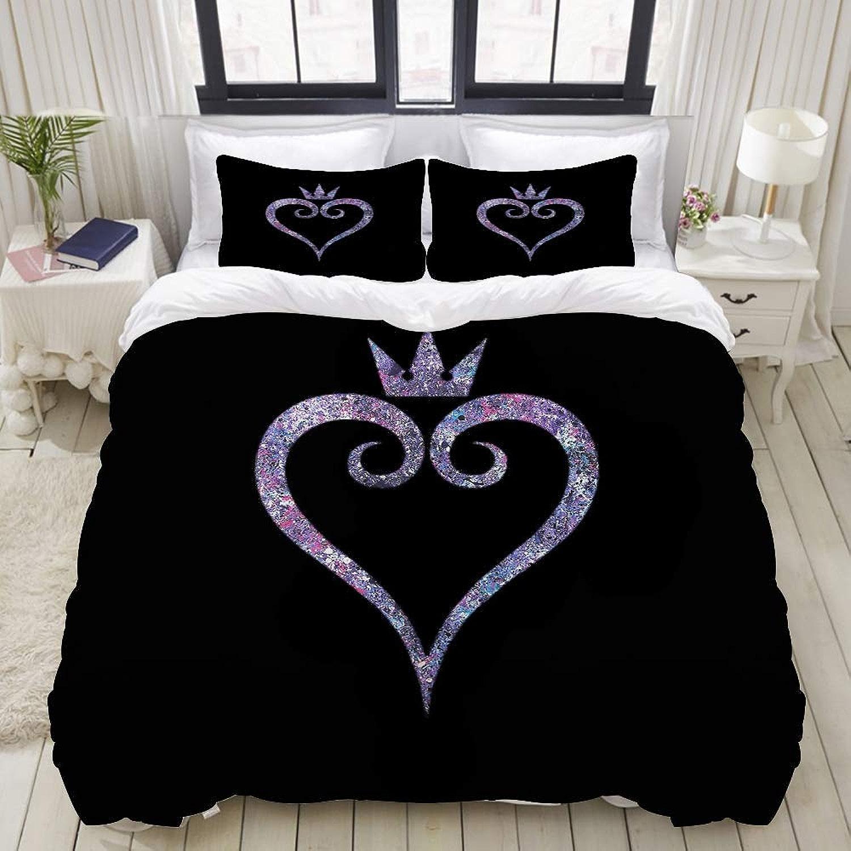SnowXXL Parure de lit Adulte,Housse de Couette,Couronne d'amour,1 Housse de Couette 140 x 200cm + 2 Taies d'Oreillers 50  75 CM