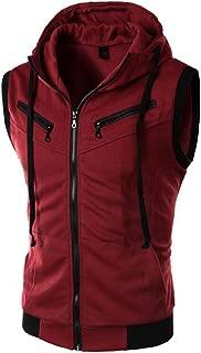 Men's Sleeveless Hoodie Casual Slim Fit Zip Up Drawstring Plain Tank Top Hooded Vests