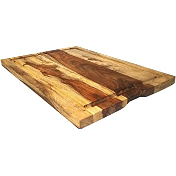 "Mountain Woods Brown Large Organic Hardwood Sheesham Cutting Board w/Juice groove | Cheese Board | Chopping board | Charcuterie board | Butcher Block - 22"" x 15"""