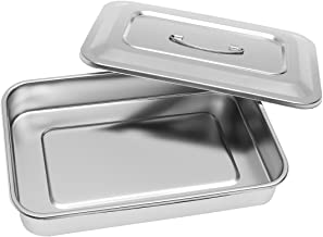 Stainless Steel Instrument Tray Organizer Holder with Lid & Handle Grip 12