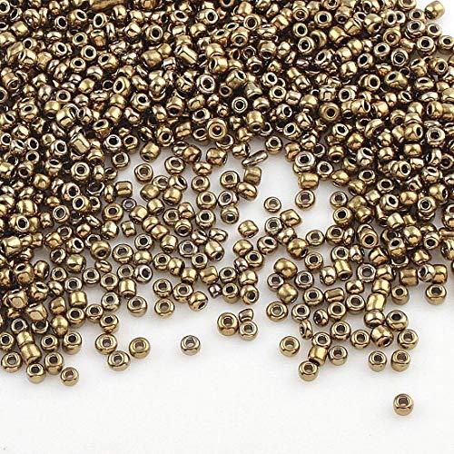 Perlin 450g Rocailles Perlen 2mm Kupfer Bronze Metallic Glasperlen Kugel 30000stk 11/0 Textil-Perlen, Mini-Perlen, Bastelperlen, Hobby Perlen Zum Auffädeln