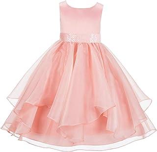 8569a2cb179 ekidsbridal Asymmetric Ruffled Organza Sequin Flower Girl Dress Toddler  Girl Dresses 012S