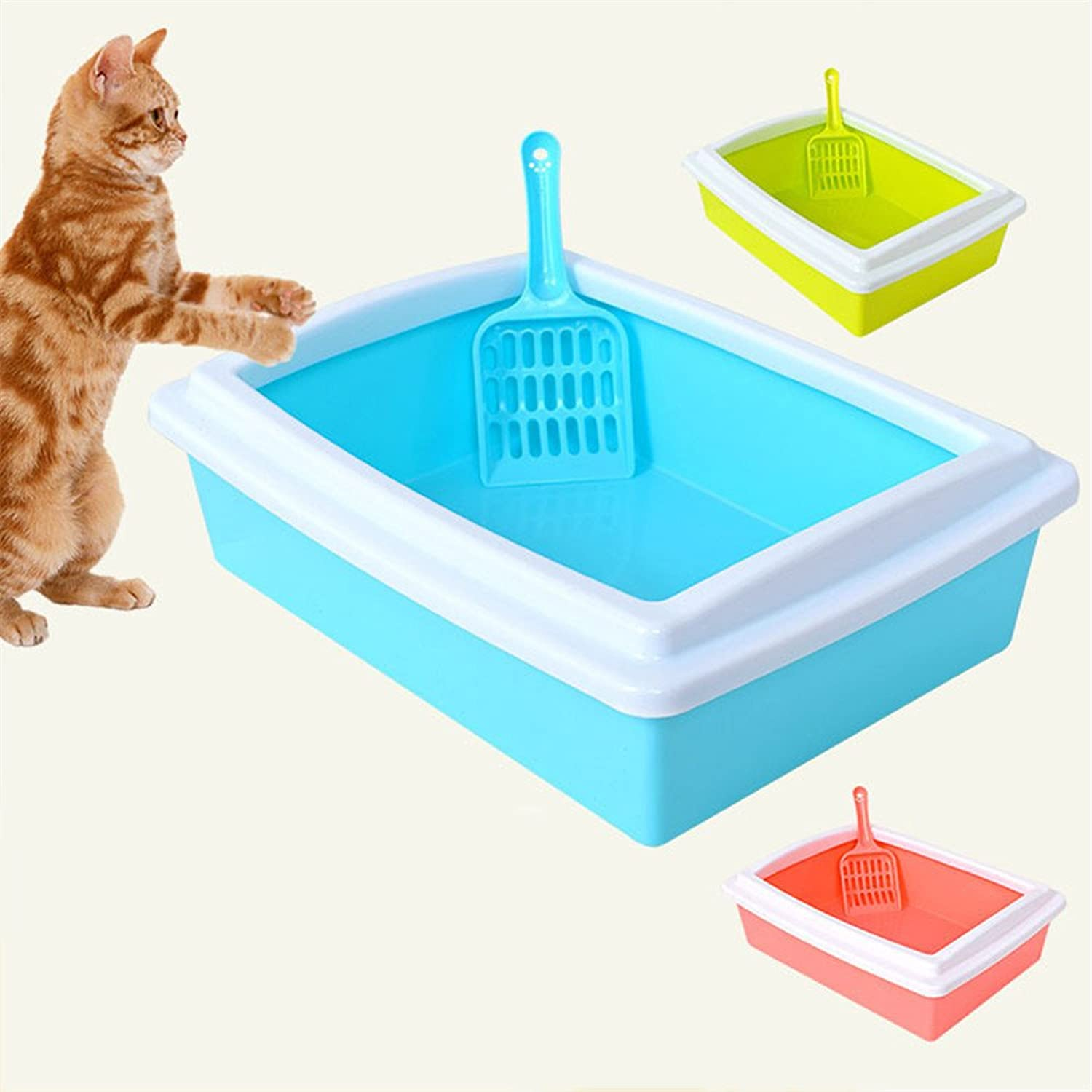 DESESHENME Demountable Cat Toilet Puppy Pet Potty Cat Toilet Give Litter Shovel Bedpan Cat Litter Box High Quality,bluee,39.5×30.5×13cm
