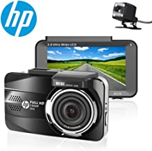 HP Dual Dash Cam Full HD 1080P Front and Rear Dashboard Camera Recorder with Sony Sensor, 3.0'' Screen, Super Night Vision, 155 Wide Angle Lens, WDR, Parking Monitor
